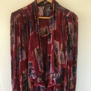 Patterned 80s Vintage Layered Tunic Blouse
